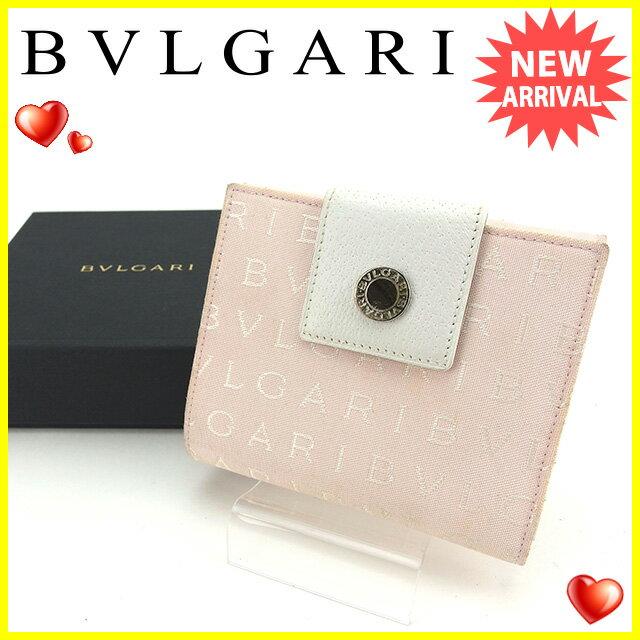 ブルガリ BVLGARI Wホック財布 二つ折り財布 レディース ロゴマニア ライトピンク×ホワイト×シルバー キャンバス×レザー 【中古】 J13363