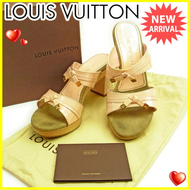 ルイヴィトン Louis Vuitton サンダル ダブルバンド シューズ 靴 レディース ♯37ハーフ リボンモチーフ 限定品 ピンク×ベージュ×ゴールド  人気 セール 【中古】 Y3512