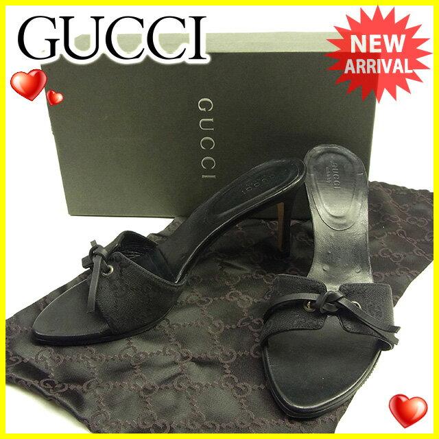 グッチ Gucci サンダル #38C レディース  GGキャンバス ブラック キャンバス×レザー 人気 セール 【中古】 T1316