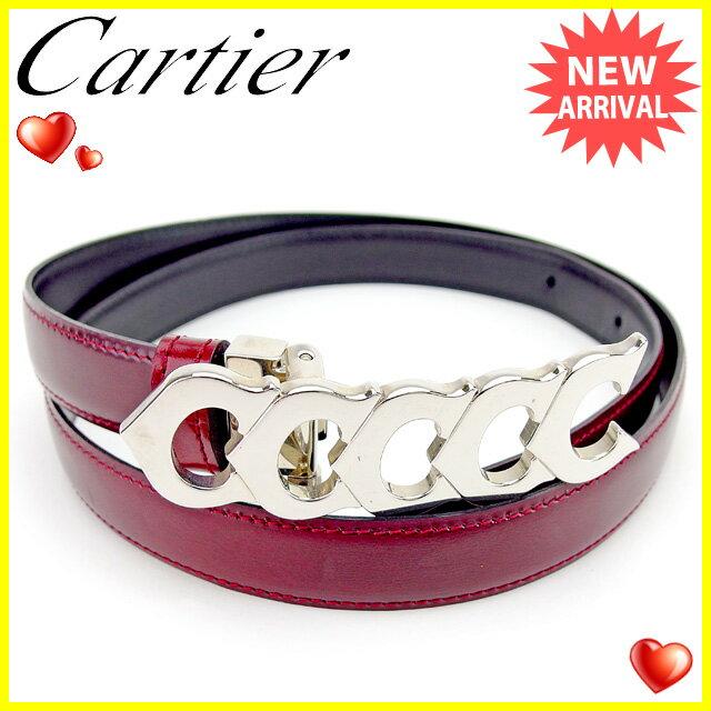 カルティエ Cartier ベルト  レディース   ボルドー×シル�ー レザー×シル�ー素� 美� セール �中�】 T1785 .