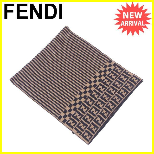 フェンディ FENDI マフラー レディース メンズ 可 ズッカ×ペカン ベージュ×ブラック ウール  【中古】 J20718