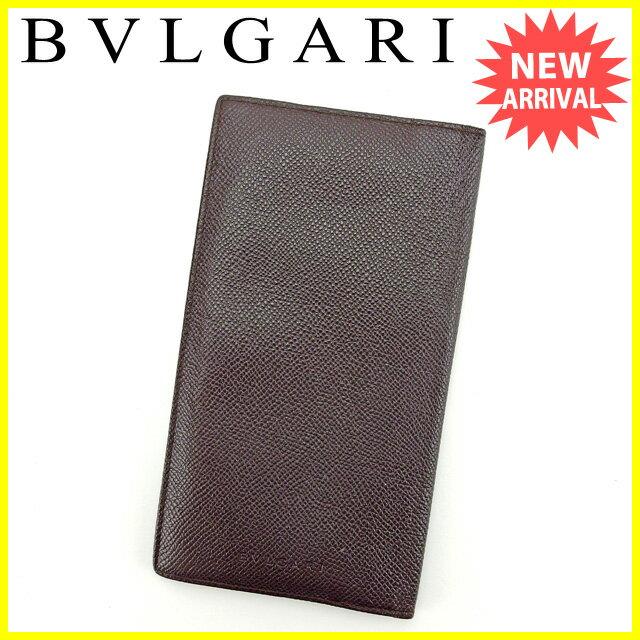ブルガリ BVLGARI 長札入れ レディース ロゴ ダークブラウン  【中古】 J10888