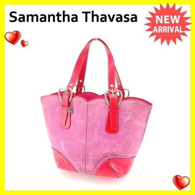 【送料無料】 サマンサタバサ Samantha Thavasa トートバッグ ハンドバッグ レディース ハートベルト ピンク×チェリーピンク×シルバー スエード×レザー (あす楽対応) 【中古】 C2069