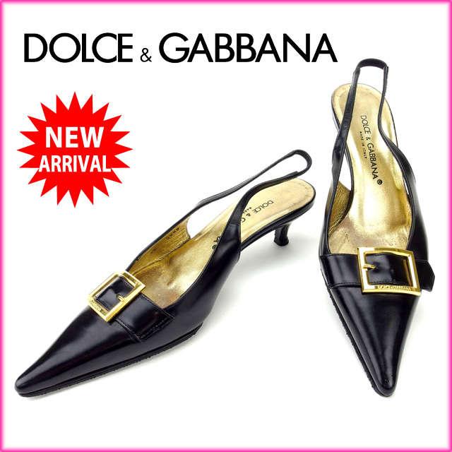 【送料無料】 ドルチェ&ガッバーナ DOLCE&GABBANA パンプス #36 レディース ブラック レザー (あす楽対応)良品 人気 【中古】 B619