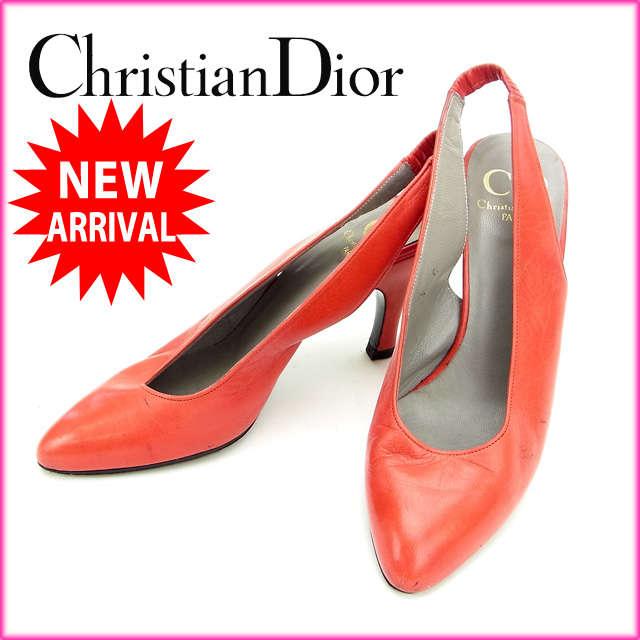【送料無料】 クリスチャン・ディオール Christian Dior パンプス#5 D レッド レザー 【中古】 C894 .
