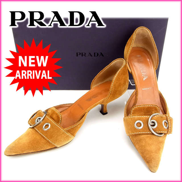 【送料無料】 プラダ PRADA パンプス#35 1 2 ライトブラウン スエード 【中古】 C953 .