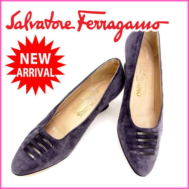 【送料無料】 サルヴァトーレ・フェラガモ Salvatore Ferragamo パンプス#5 D パープル スエード 【中古】 C956