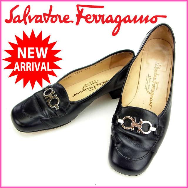 【送料無料】 サルヴァトーレ・フェラガモ Salvatore Ferragamo パンプス #6D ガンチーニ ブラック レザー 【中古】 F530
