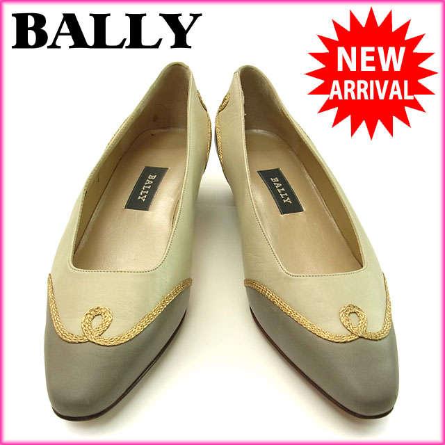 バリー BALLY パンプス シューズ 靴 レディース ♯7ハーフ ゴールドライン ベージュ×グレー×ゴールド レザー (あす楽対応)人気 激安【中古】 Y886