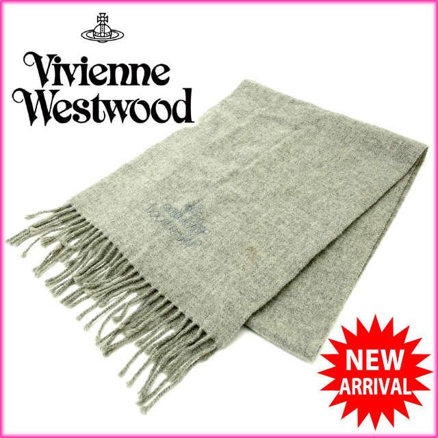 【送料無料】 ヴィヴィアン・ウエストウッド Vivienne Westwood マフラー メンズ可 オーブ グレー ウール (あす楽対応) 人気 美品 【中古】 J5030