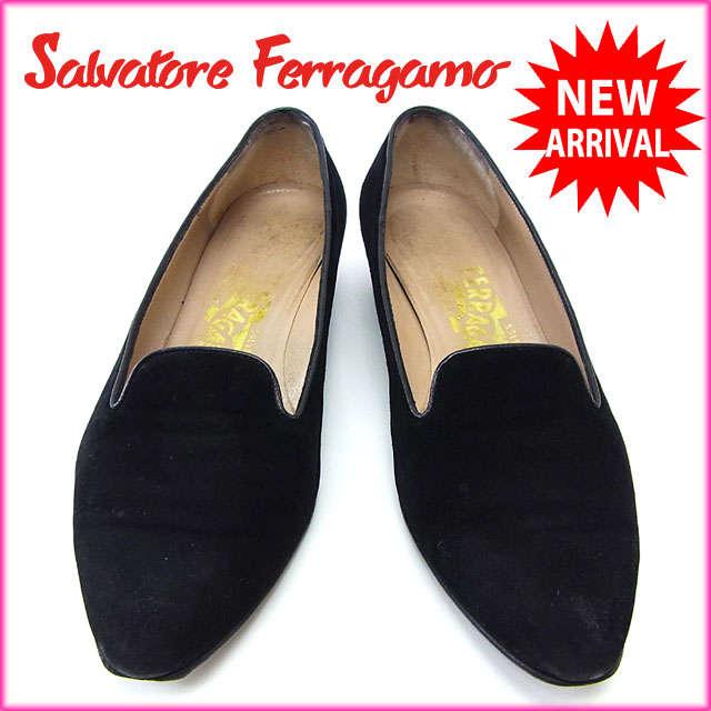 サルヴァトーレフェラガモ Salvatore Ferragamo パンプス シューズ 靴 レディース ♯6C ポインテッドトゥ ブラック スエード×レザー (あす楽対応)激安 セール【中古】 Y2446 .