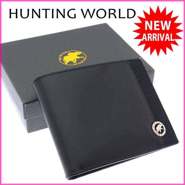 【送料無料】 ハンティングワールド HUNTING WORLD 二つ折り札入れ コンパクトサイズ メンズ ロゴプレート 5Z 528 6450967 ブラック×シルバー レザー (あす楽対応)良品 【中古】 J9414