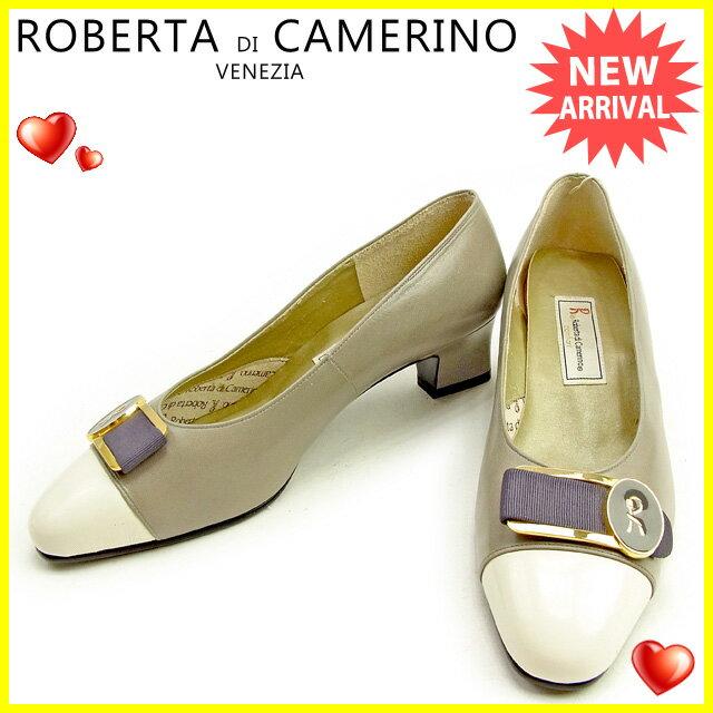 ロベルタディカメリーノ ROBERTA DI CAMERINO パンプス #5 1/2 レディース   ホワイト×グレー レザー 美品 訳あり 【中古】 T1251 .
