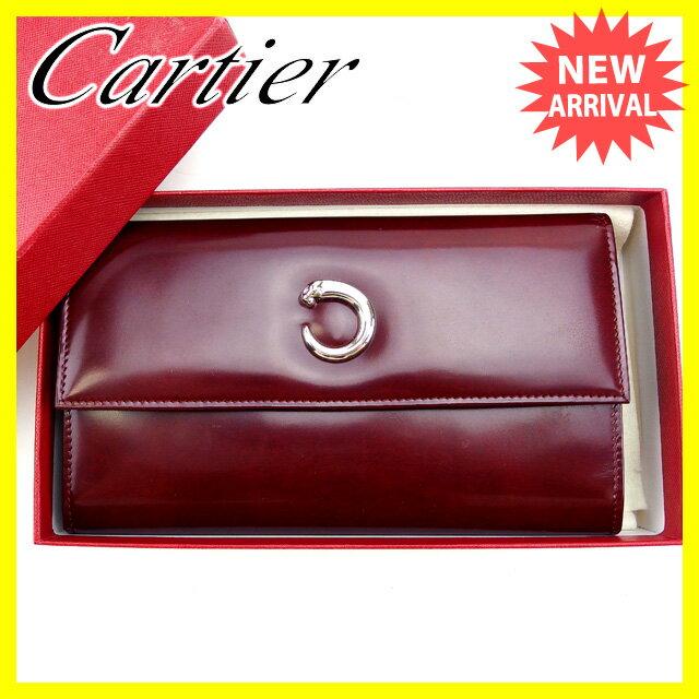 【送料無料】 カルティエ Cartier 長財布 三つ折り メンズ可 パンテール ボルドー×シルバー エナメルレザー (あす楽対応)良品 【中古】 J10580