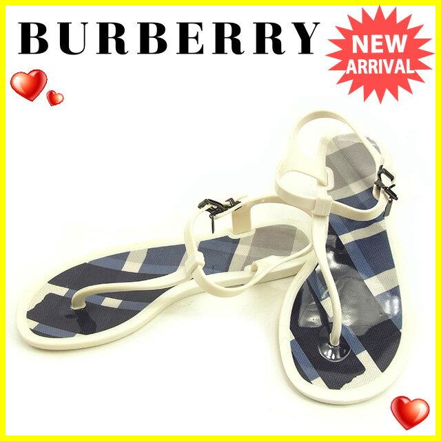 バーバリー BURBERRY サンダル シューズ 靴 レディース ♯37 トング ホワイト×ブラック系 ラバー 良品 セール 【中古】 T123