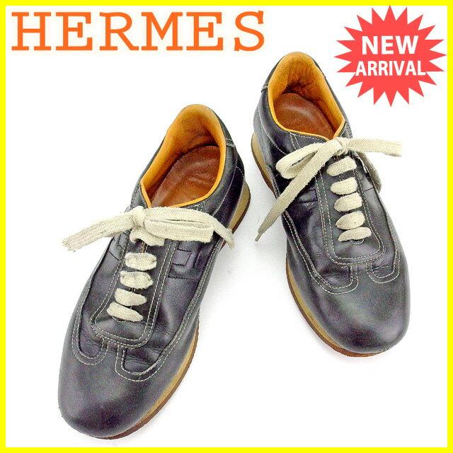 エルメス HERMES スニーカー シューズ 靴 メンズ ♯41ハーフ クイック ブラック×ベージュ系 レザー 人気 セール 【中古】 T1883