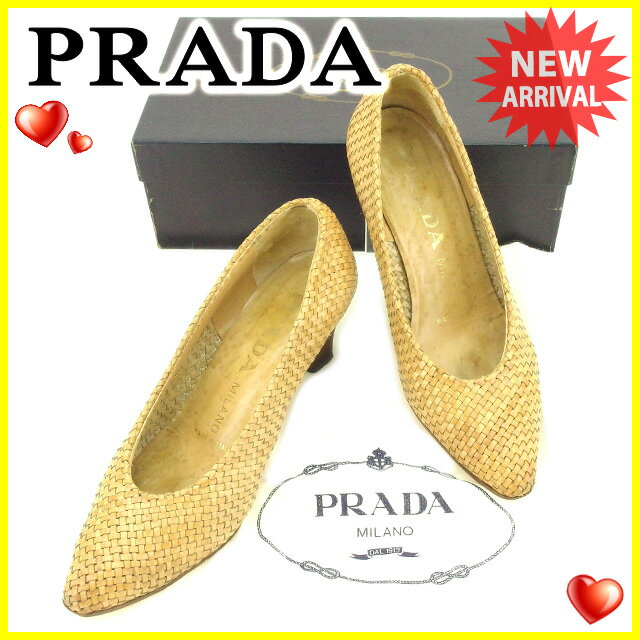 プラダ PRADA パンプス #36 レディース   ライトブラウン レザー 人気 セール 【中古】 T2143 .