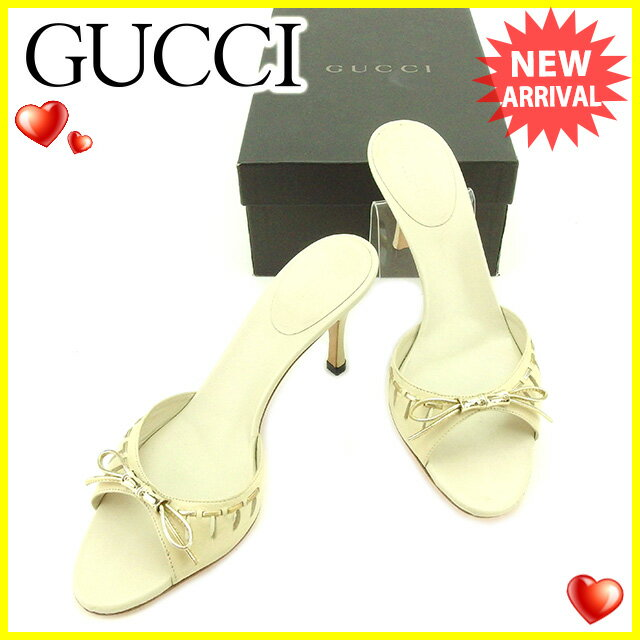 グッチ Gucci サンダル #5 1/2C メンズ可  バンブー ベージュ×シルバー レザー×シルバー素材 人気 セール 【中古】 T2152