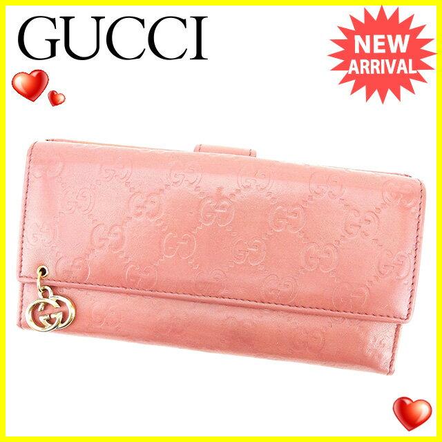 グッチ Gucci 長財布 Wホック レディース  グッチシマ ピンク レザー 人気 セール 【中古】 J20685