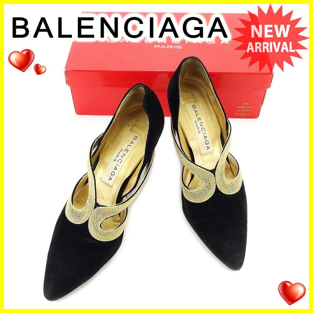 バレンシアガ BALENCIAGA パンプス #36 1/2 レディース   ブラック×ゴールド スエード 人気 セール 【中古】 A1701