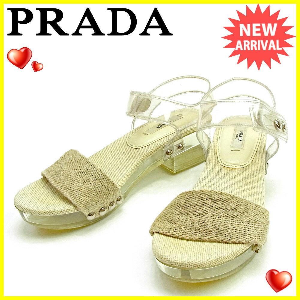 プラダ PRADA サンダル  メンズ可   ベージュ×クリア キャンバス×ビニール 人気 セール 【中古】 L1822