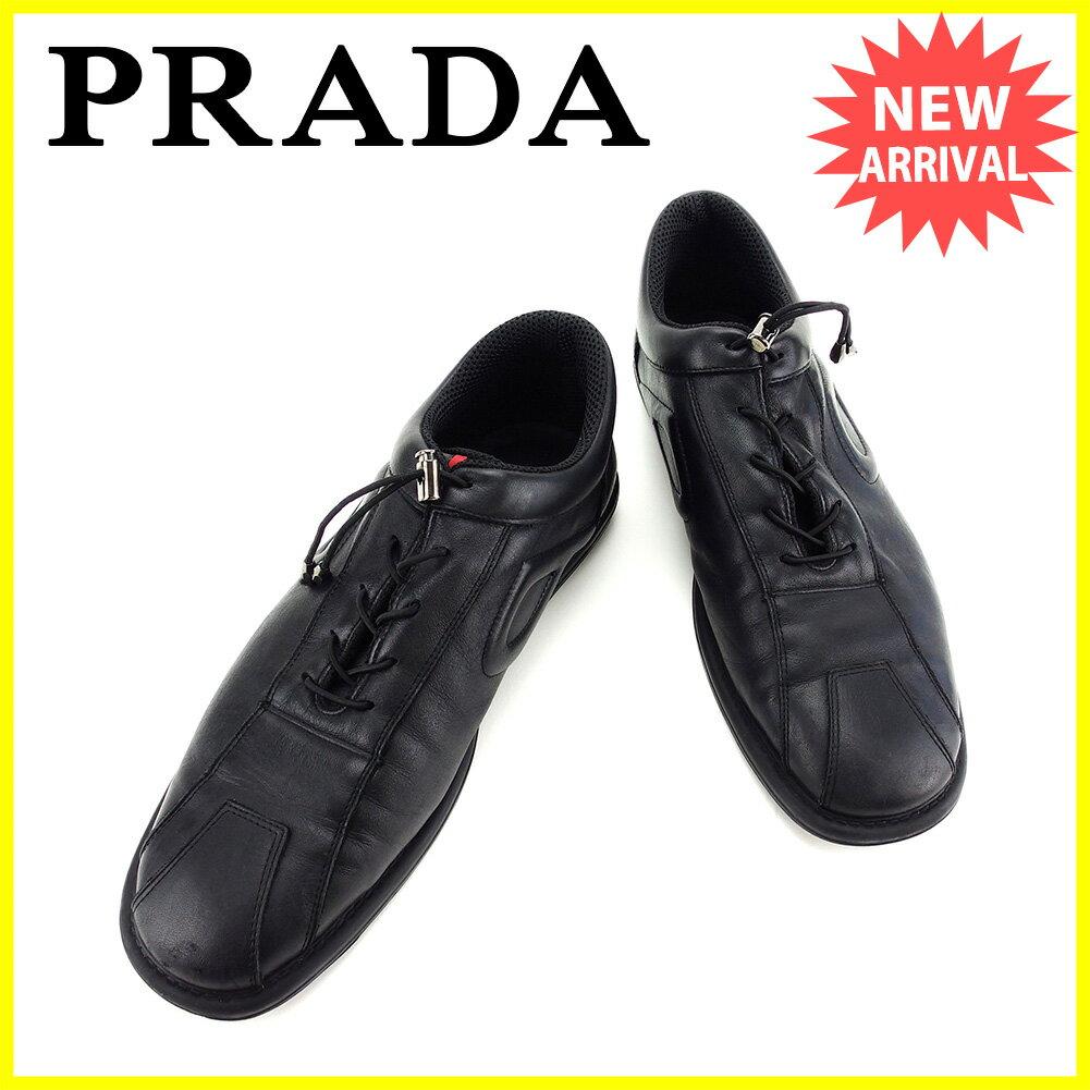 プラダ PRADA スニーカー シューズ 靴 メンズ   ブラック レザー 人気 良品 【中古】 L1625