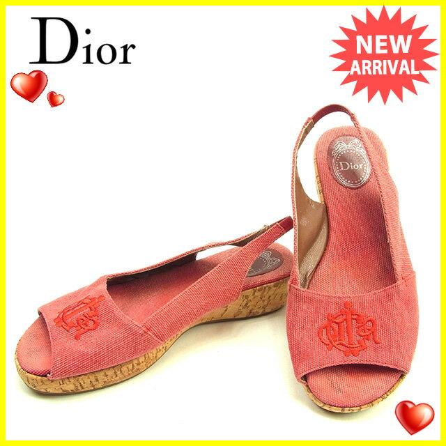 ディオール Dior サンダル シューズ 靴 レディース ♯36 スリングバック ロゴモチーフ刺繍 レッド×ベージュ キャンバス×コルク 良品 セール 【中古】 Y6919