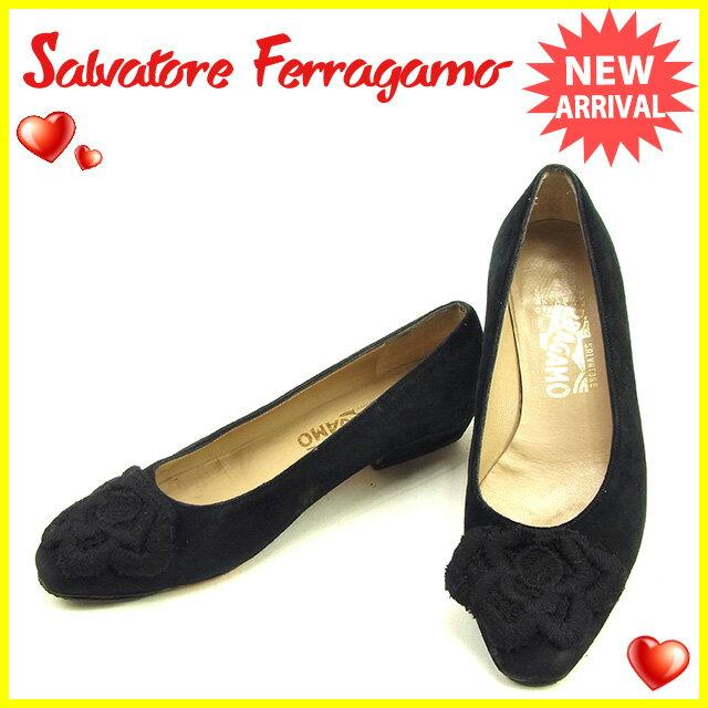 サルヴァトーレ フェラガモ Salvatore Ferragamo パンプス シューズ 靴 レディース ♯5ハーフC フラワーモチーフ ブラック スエード 人気 セール 【中古】 Y6841 .