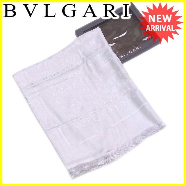 【送料無料】 ブルガリ BVLGARI ストール フリンジ付き レディース メンズ 可  ロゴマニア グレー シルク65%ウール35% 訳あり 未使用品 【未使用】 J19137