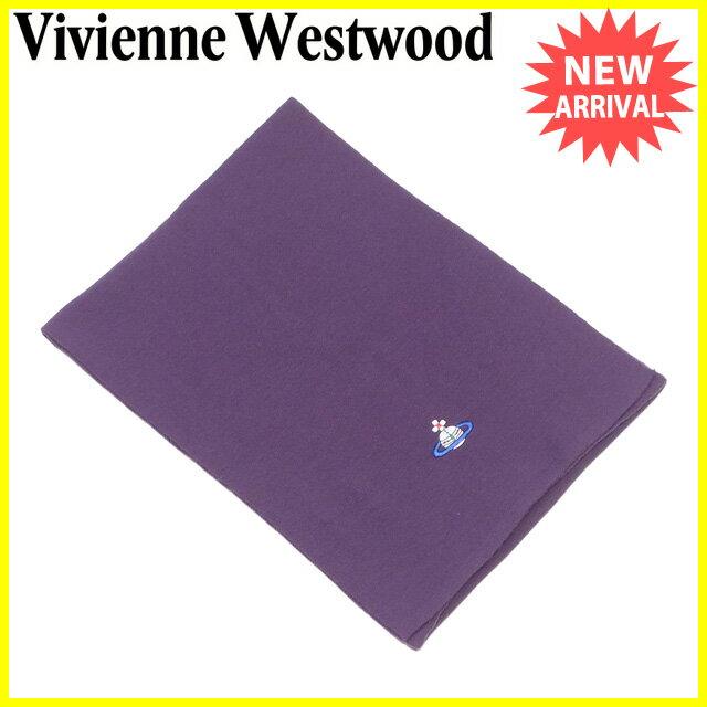 ヴィヴィアン ウエストウッド Vivienne Westwood マフラー  レディース メンズ 可  オーブ刺繍 パープル系  良品 セール 【中古】 J20476