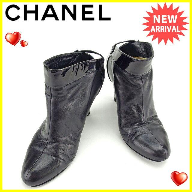 【送料無料】 シャネル CHANEL ブーツ #37 レディース ブラック エナメルレザー 人気 良品 【中古】 E1078