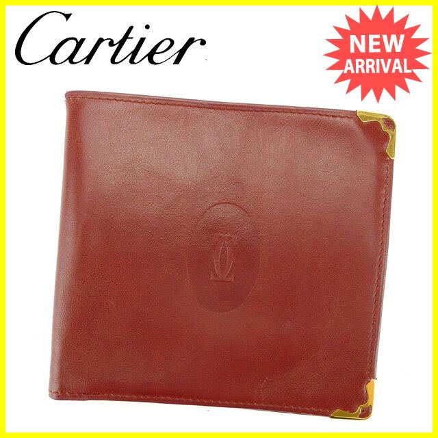 発売開始 【送料無料】 カルティエ Cartier 二つ折り札入れ メンズ可 マストライン ボルドー×ゴールド レザー 人気 セール 【中古】 J14098