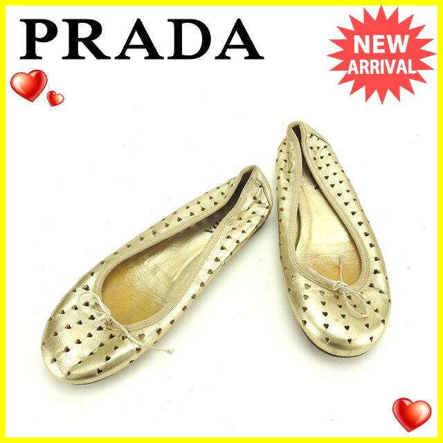 プラダ PRADA シューズ 靴 レディース ♯36 バレエシューズ ハート型抜き ゴールド×ベージュ レザー 人気 セール 【中古】 P241