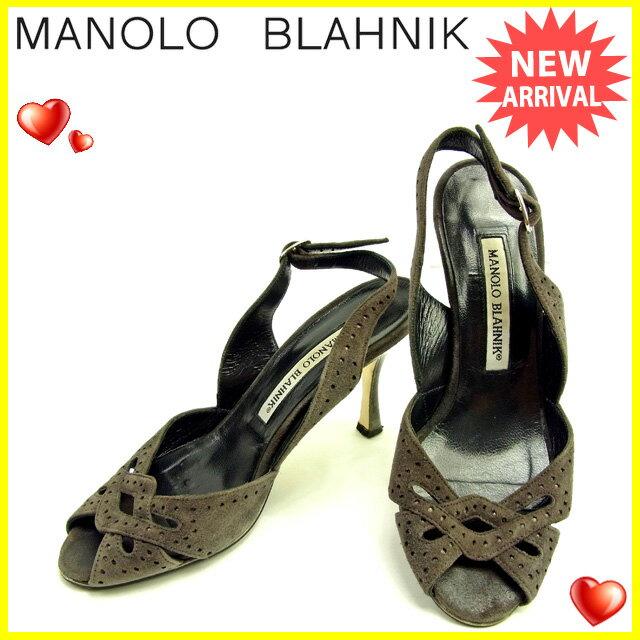 マロノブラニク Manolo Blahnik サンダル シューズ 靴 レディース ♯34ハーフ スリングバック パンチング ダークグレー×シルバー  良品 セール 【中古】 Y3661
