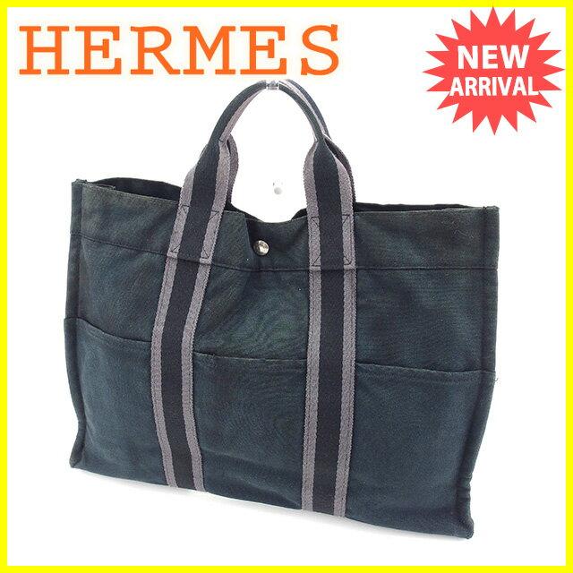 エルメス HERMES トートバッグ ハンドバッグ メンズ可 フールトゥMM フールトゥ ブラック×グレー キャンバス 人気 【中古】 Y6072
