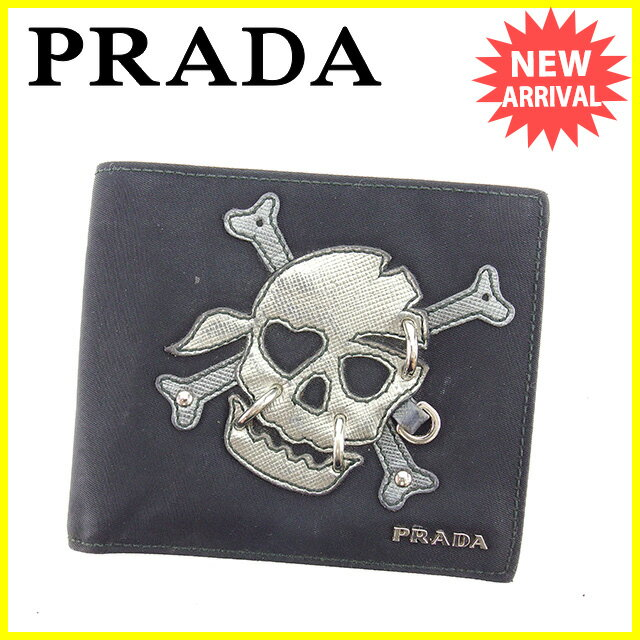 【送料無料】 プラダ PRADA 二つ折り財布 メンズ スカルモチーフ ブラック×シルバー ナイロンキャンバス×レザー 人気 セール 【中古】 J15614