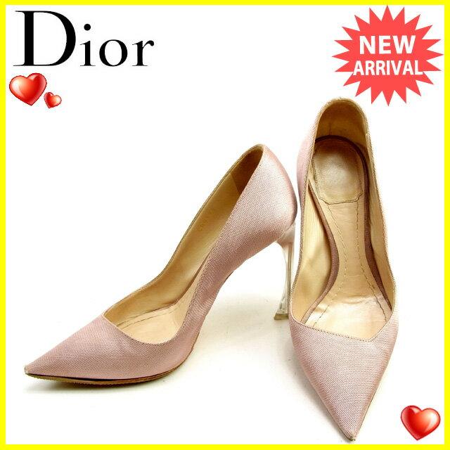 【送料無料】 ディオール Christian Dior パンプス #35 レディース ポインテッドトゥ ピンク キャンバス×レザー 人気 セール 【中古】 L1547 .