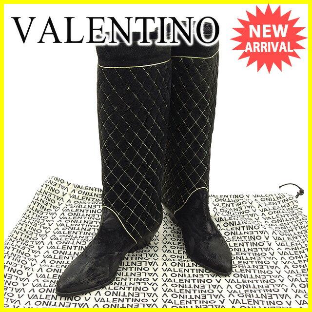 マリオヴァレンティノ MARIO VALENTINO ブーツ #6・1/2 レディース   ブラック×ゴールド スエード 人気 セール 【中古】 T563