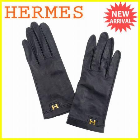 【送料無料】 エルメス HERMES 手袋 グローブ レディース Hマーク ブラック×ゴールド レザー 美品 【中古】 L951