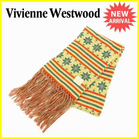 【送料無料】 ヴィヴィアンウエストウッド Vivienne Westwood マフラー フリンジ付き 男女兼用 ノルディック柄 イエロー×オレンジ×ブルー (あす楽対応) 人気 【中古】 J12312
