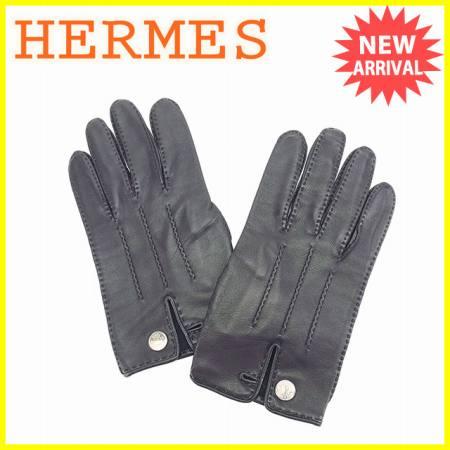 【送料無料】 エルメス HERMES 手袋 グローブ セリエボタン ブラック×シルバー レザー 美品 【中古】 J13346
