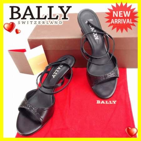 バリー BALLY サンダル シューズ 靴 レディース ♯35EU・4ハーフUS アンクルストラップ ブラック×シルバー レザー (あす楽対応)良品 セール【中古】 Y3351