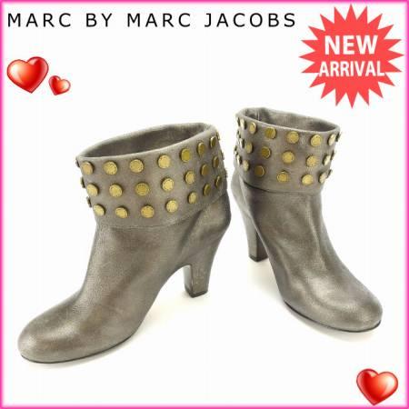 マークバイマークジェイコブス MARC BY MARC JACOBS ブーツ シューズ 靴 レディース ♯36 ショート丈 ロゴスタッズ ブロンズ×ゴールド レザー (あす楽対応)良品 セール【中古】 L392