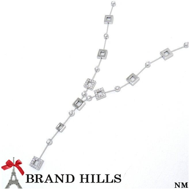 【特選】【極美品】K18WG ダイヤモンド0.85ct Y字 ペンダント ネックレス 総重量12.6g 【中古】