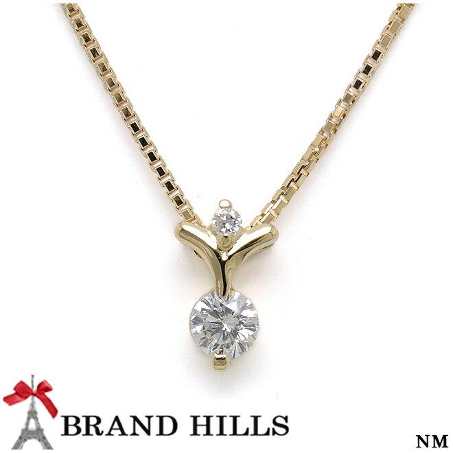 【特選】【極美品】K18YG ダイヤモンド0.23ct+0.02ct ネックレス 総重量3.4g 【中古】