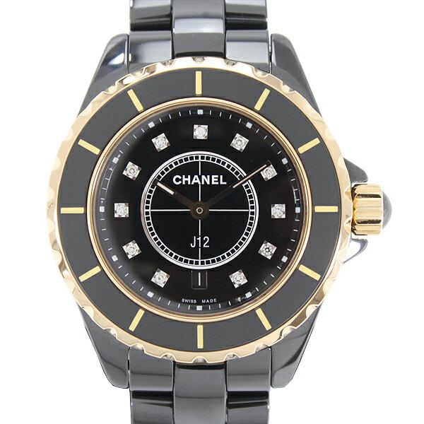 CHAEL シャネル J12 H2543 黒セラミックxPG レディース腕時計 11Pダイヤモンド 33mm ブラック【中古】
