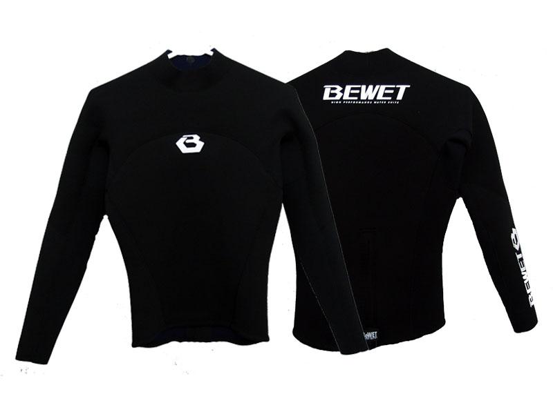 うまく売れる 【BE WET/ビーウェット】メンズ 男性2mm ウェットスーツ ローネックジャケット ロング スリーブ タッパー 長袖タッパー サーフフィン ブラックラバー ブラック ジャージ