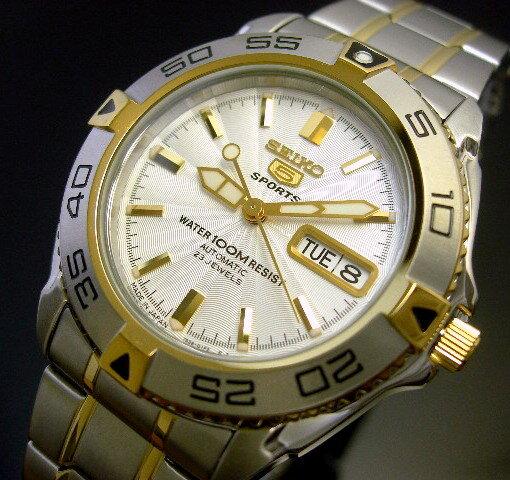 SEIKO/SEIKO5 Sports【セイコー5スポーツ/ファイブスポーツ】自動巻 メンズ腕時計 MADE IN JAPAN コンビメタルベルト シルバー文字盤 SNZB24J1 (海外モデル)