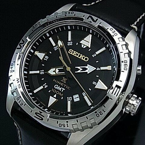 SEIKO/PROSPEX【セイコー/プロスペックス】キネテック GMT メンズ腕時計 ブラック文字盤 ブラックレザーベルト SUN053P1(海外モデル)