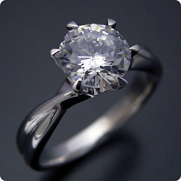 【婚約指輪】1カラット【1ct】ダイヤモンド【エンゲージリング】プラチナ【ブライダルジュエリー】結婚指輪【マリッジリング】受注生産品【1カラット版:シンプルにデザインされている婚約指輪】Dカラー・VVS1クラス・Excellentカット【宝石鑑定書付き】
